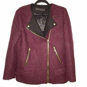 <Zara> Moto Biker Coat gold zipper wool blend